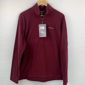 NWT Eddie Bauer brick red quarter zip fleece large